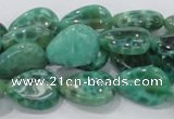 CAB55 15.5 inches 13*18mm flat teardrop peafowl agate gemstone beads