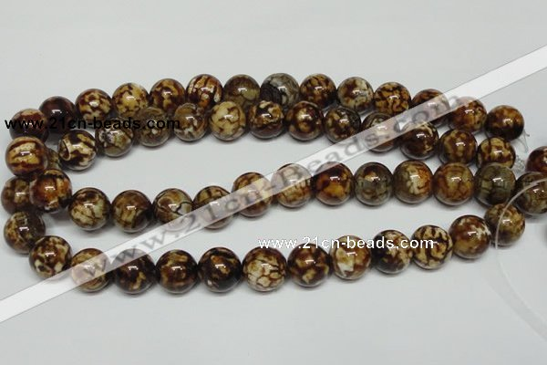 CAB612 15.5 inches 14mm round leopard skin agate beads wholesale