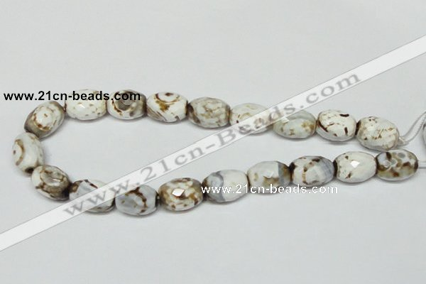 CAB624 15.5 inches 14*20mm faceted egg-shaped leopard skin agate beads