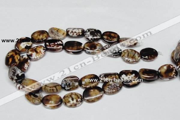 CAB633 15.5 inches 15*20mm twisted oval leopard skin agate beads