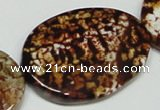 CAB635 15.5 inches 30*40mm twisted oval leopard skin agate beads
