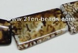 CAB643 15.5 inches 20*35mm trapezoid leopard skin agate beads