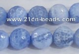 CAB651 15.5 inches 14mm faceted round fire crackle agate beads