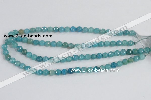 CAB653 15.5 inches 8mm faceted round fire crackle agate beads