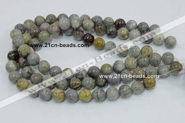 CAB69 15.5 inches 14mm round silver needle agate gemstone beads