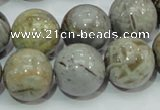 CAB70 15.5 inches 16mm round silver needle agate gemstone beads