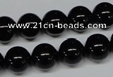 CAB726 15.5 inches 12mm round black agate gemstone beads wholesale