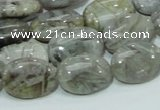 CAB82 15.5 inches 13*18mm oval silver needle agate gemstone beads