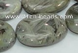 CAB84 15.5 inches 25*35mm oval silver needle agate gemstone beads