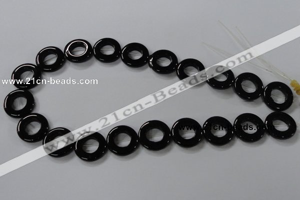 CAB855 15.5 inches 20mm donut black agate gemstone beads wholesale