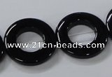 CAB856 15.5 inches 25mm donut black agate gemstone beads wholesale