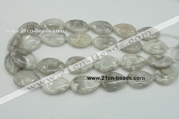 CAB910 15.5 inches 22*30mm flat teardrop natural crazy agate beads