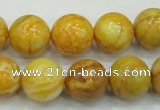 CAB936 15.5 inches 14mm round yellow crazy lace agate beads wholesale