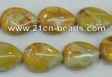 CAB940 15.5 inches 13*18mm flat teardrop yellow crazy lace agate beads