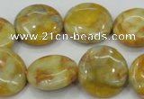 CAB944 15.5 inches 20mm flat round yellow crazy lace agate beads
