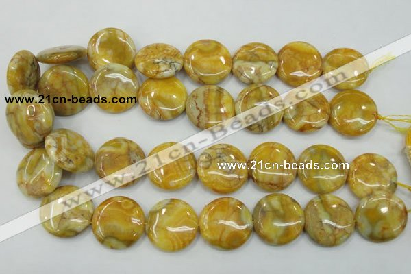 CAB945 15.5 inches 25mm flat round yellow crazy lace agate beads