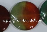 CAG1040 15.5 inches 35mm flat round rainbow agate beads