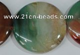 CAG1045 15.5 inches 40mm flat round rainbow agate beads