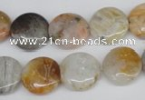 CAG1101 15.5 inches 14mm flat round bamboo leaf agate beads