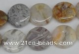 CAG1102 15.5 inches 16mm flat round bamboo leaf agate beads