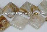 CAG1106 15.5 inches 16*16mm diamond bamboo leaf agate beads