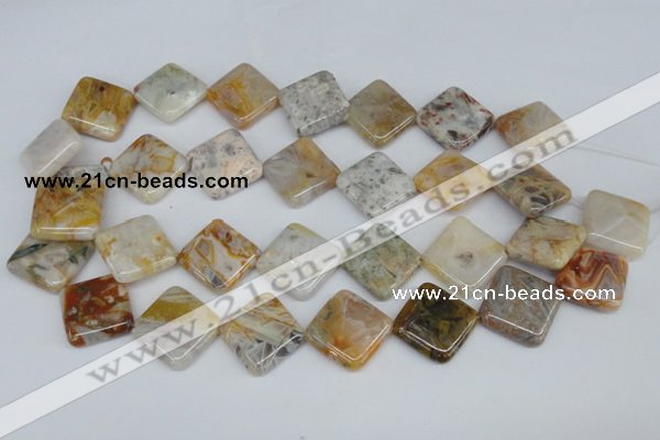 CAG1107 15.5 inches 18*18mm diamond bamboo leaf agate beads