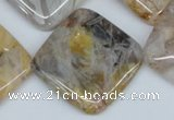 CAG1110 15.5 inches 30*30mm diamond bamboo leaf agate beads