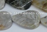 CAG1121 15.5 inches 25*35mm carved leaf bamboo leaf agate beads