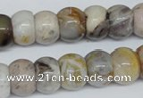 CAG1126 15.5 inches 10*14mm rondelle bamboo leaf agate beads