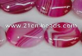 CAG1176 15.5 inches 18*25mm oval line agate gemstone beads