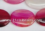 CAG1178 15.5 inches 22*30mm oval line agate gemstone beads