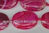CAG1187 15.5 inches 22*30mm oval line agate gemstone beads