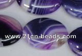 CAG1210 15.5 inches 20*30mm oval line agate gemstone beads