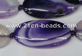 CAG1236 15.5 inches 20*40mm oval line agate gemstone beads