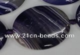 CAG1239 15.5 inches 30*40mm oval line agate gemstone beads