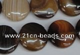 CAG1308 15.5 inches 20mm flat round line agate gemstone beads