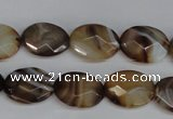 CAG1348 15.5 inches 12*16mm faceted oval line agate gemstone beads