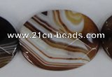CAG1352 15.5 inches 30*40mm faceted oval line agate gemstone beads