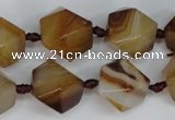 CAG1357 15.5 inches 16*18mm faceted nuggets line agate gemstone beads