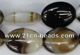 CAG1375 15.5 inches 18*25mm oval line agate gemstone beads
