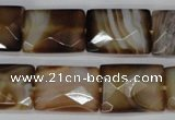 CAG1390 15.5 inches 15*20mm faceted rectangle line agate gemstone beads