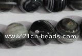CAG1407 15.5 inches 16mm faceted round line agate gemstone beads