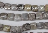 CAG1430 15.5 inches 8*8mm square silver needle agate beads