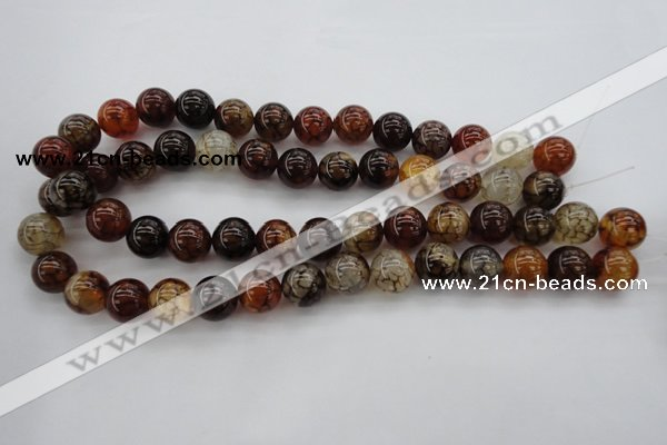 CAG1442 15.5 inches 14mm round dragon veins agate beads