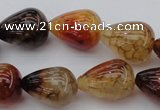 CAG1450 15.5 inches 15*20mm teardrop dragon veins agate beads