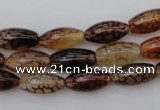 CAG1452 15.5 inches 6*16mm rice dragon veins agate beads