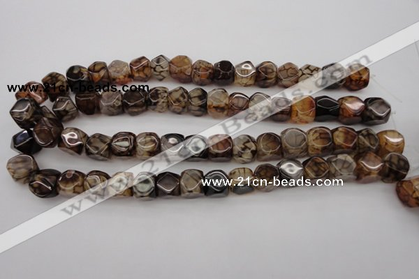 CAG1458 15.5 inches 12*13mm faceted nuggets dragon veins agate beads