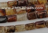 CAG1478 15.5 inches 8*12mm rectangle dragon veins agate beads