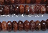 CAG1492 15.5 inches 6*12mm faceted rondelle natural fire agate beads