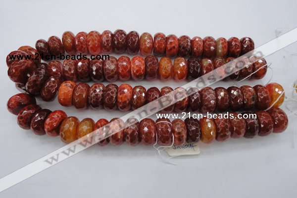 CAG1495 15.5 inches 10*20mm faceted rondelle natural fire agate beads